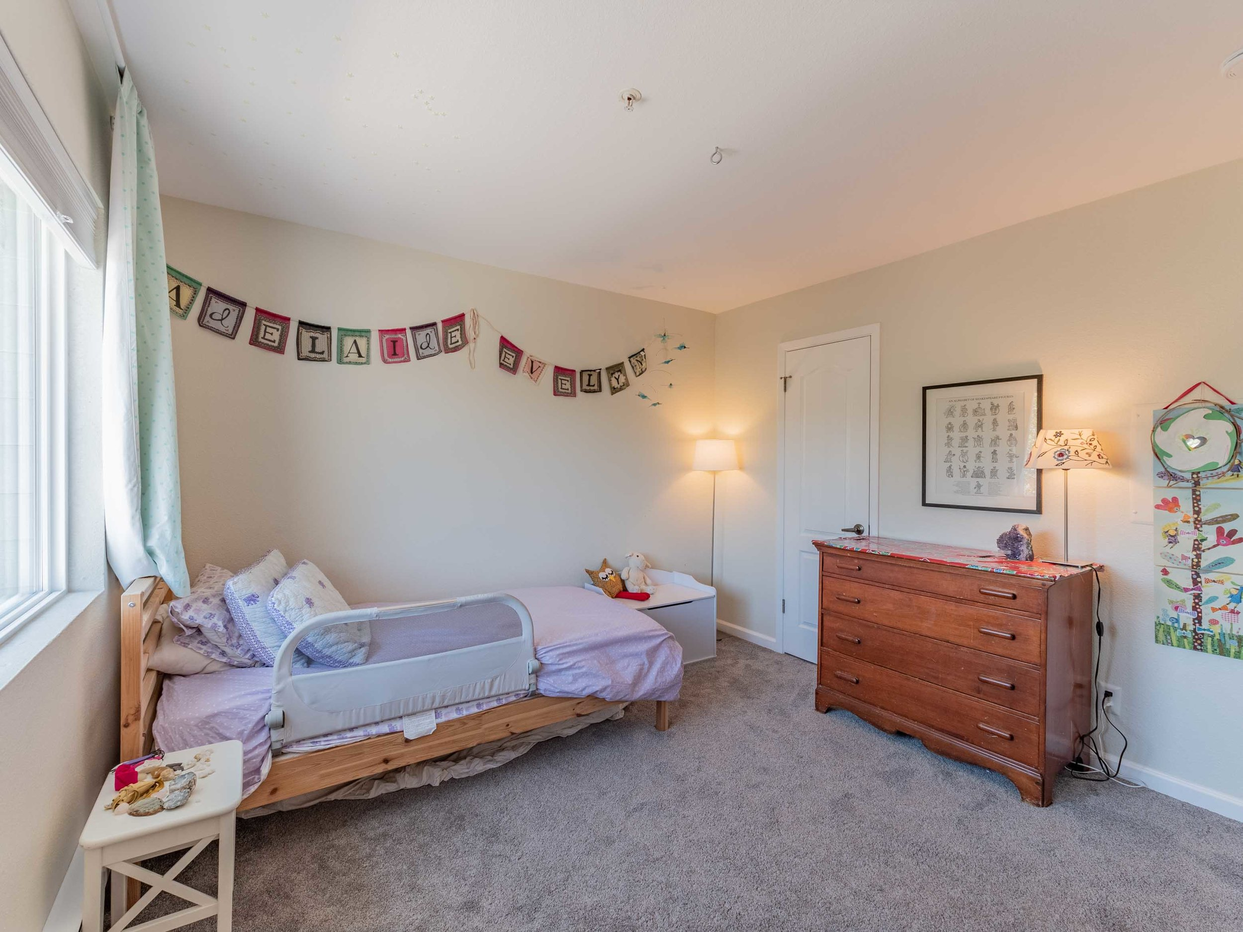 Spacious bedroom light filled