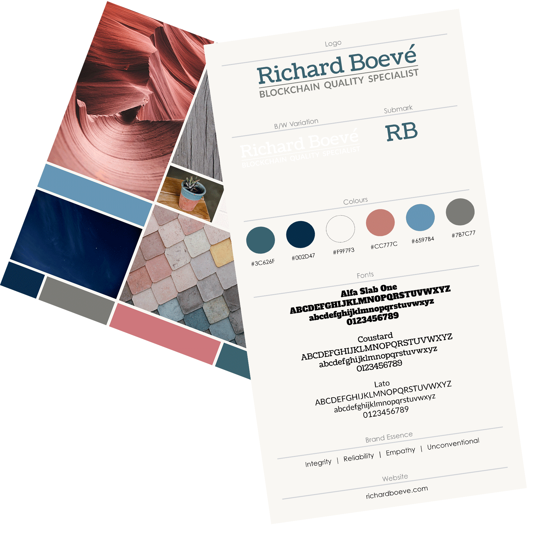 Brand Style - After a thorough review of Richard's unique strengths and values, where he wants to take his career and the competition in his field, we helped him clarify his unique brand essence that would both feel authentic and help him stand out.To capture Richard's brand essence visually,we developed a cool, professional color palette along with a combination of unconventional but structured fonts.