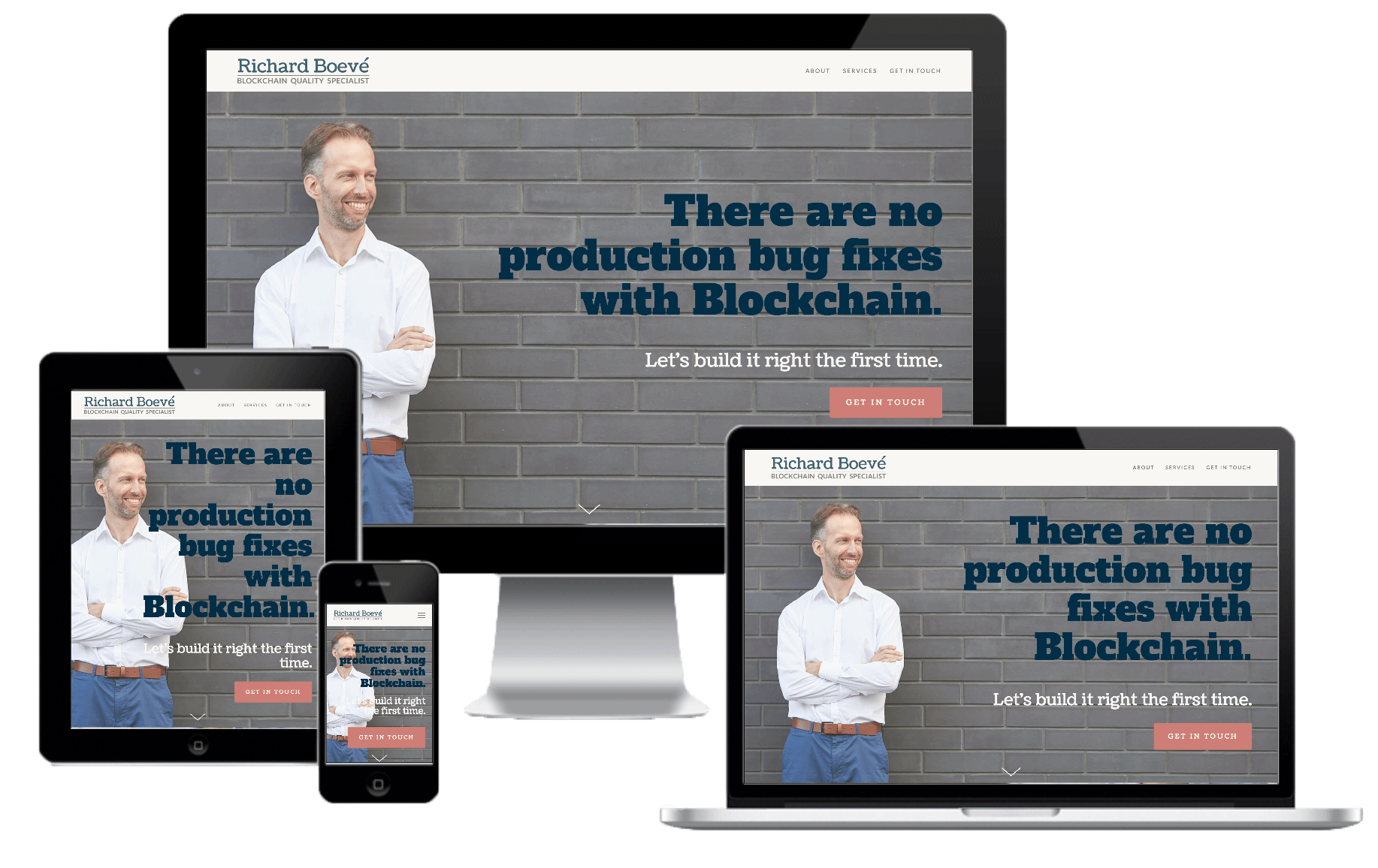 Branded Website - The final product we created was a fully-responsive personal website, which showcases Richard's strengths and approach to creating blockchain testing solutions in a way that immediately communicates his unique brand and value proposition to any visitor.  Check it out and get to know Richard Boevé here.