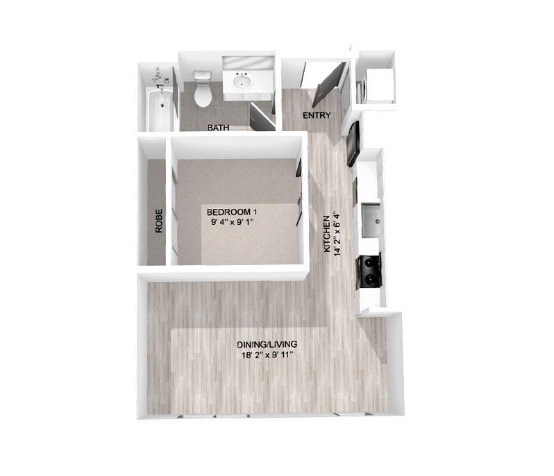 519 sq ft Studio