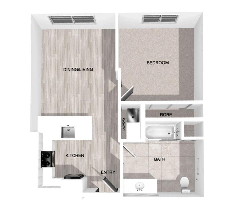 660 Sq Ft 1-Bedroom