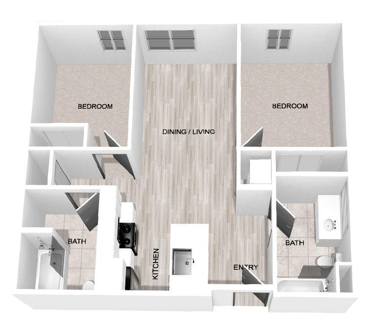 808 Sq Ft 2-Bedroom