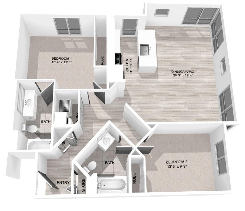 1,127 Sq Ft 2-Bedroom