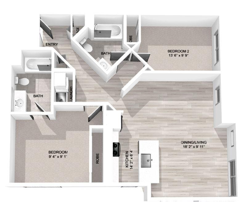 1,131 Sq Ft 2-Bedroom
