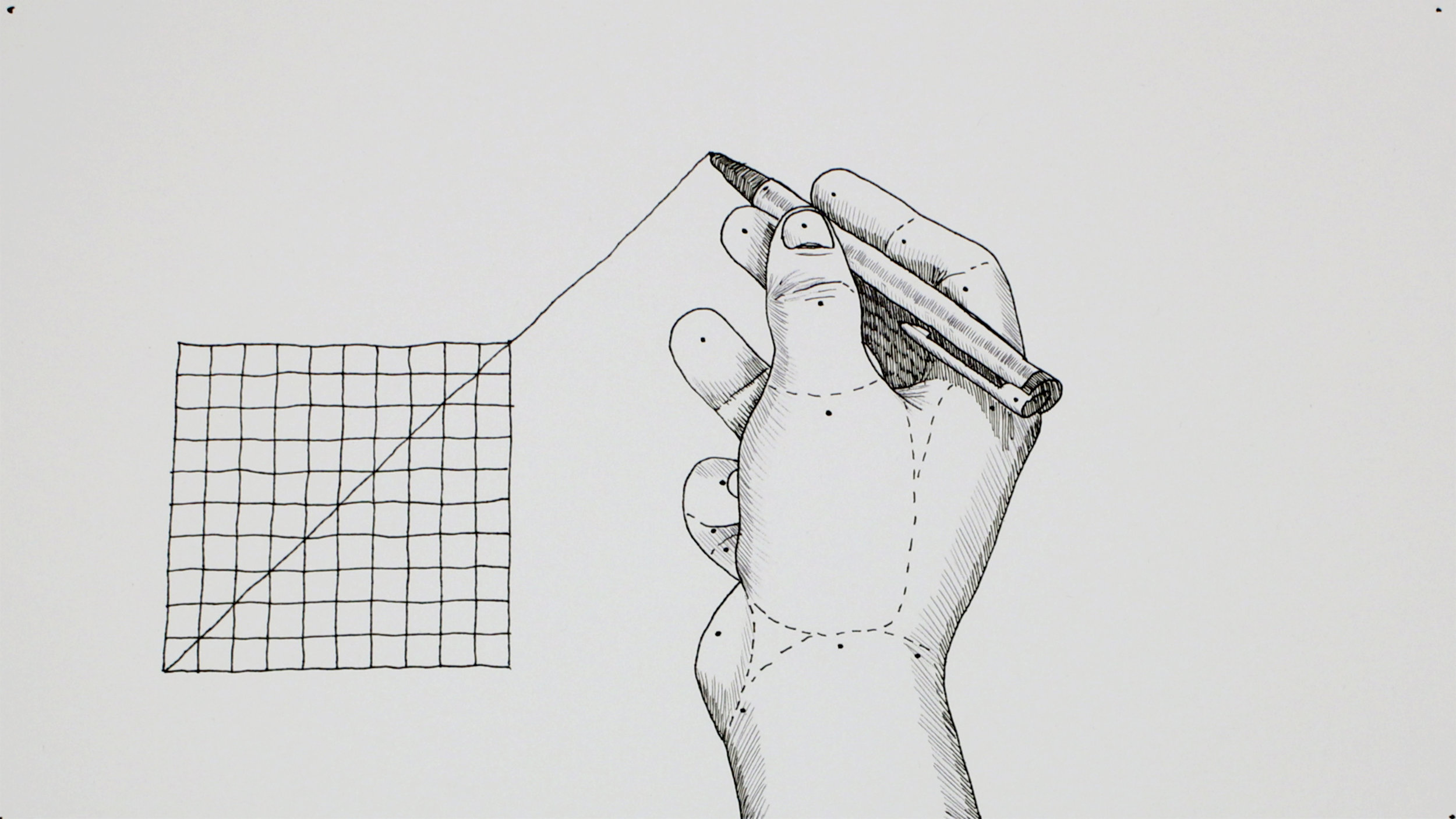 Extrapolate   Director: Johan Rijpma // Japan, The Netherlands   In this hand drawn animation a line is being extrapolated through a grid. When the line surpasses the boundaries of the grid, the process spreads to and reflects on its surroundings. Beyond each boundary the extrapolation of movement is causing deformation in a systematic but speculative way.