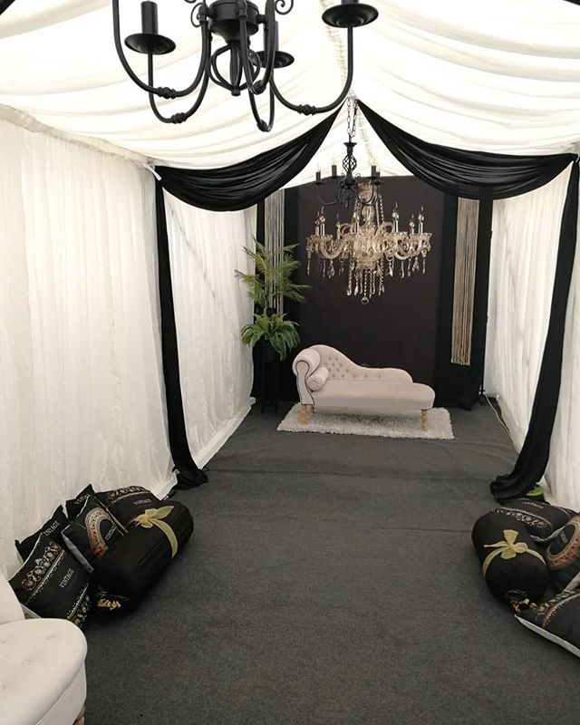 Black and white vintage themed marquee for our clients wedding festivities this week.