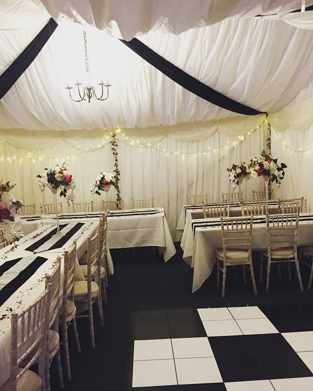 Black and white themed marquees have proven popular for 2019.  A set up for our clients birthday festivities.