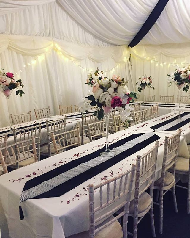 Black and white themed marquees have proven popular for 2019.  A set up for our clients birthday celebrations.