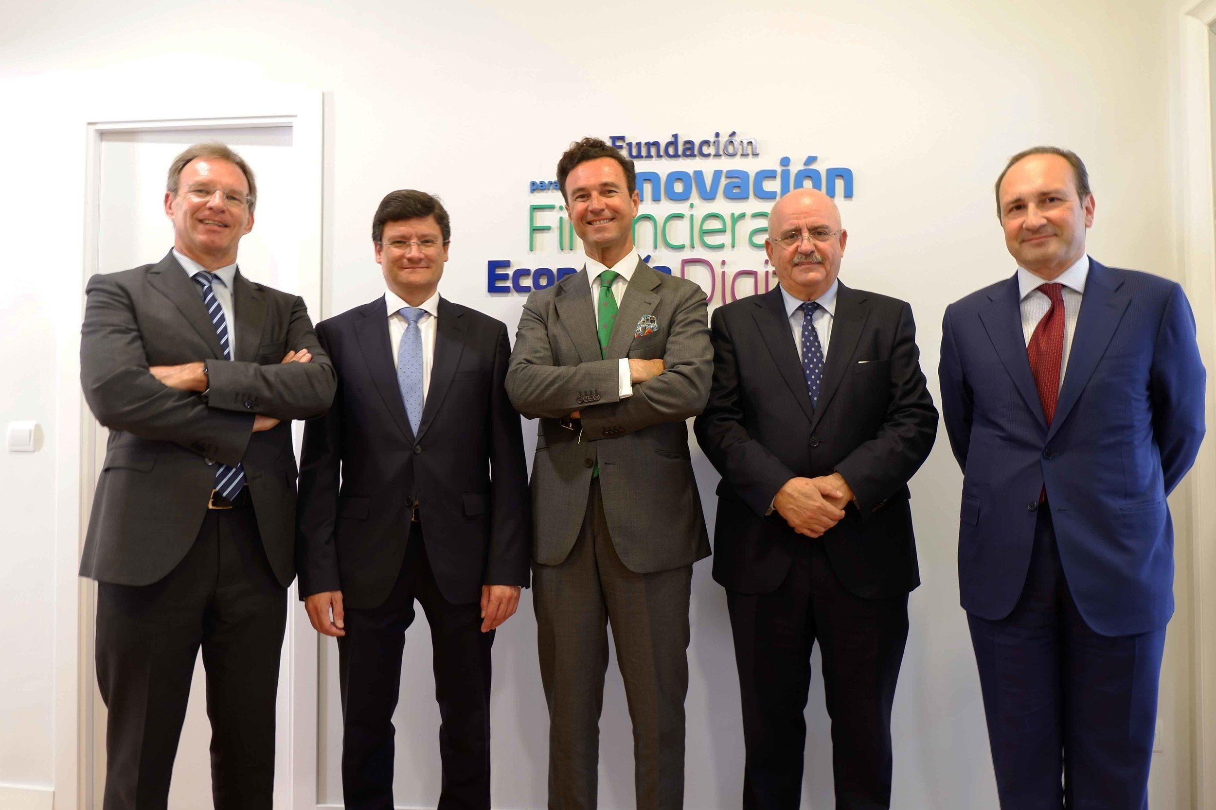 De izq. a dcha., Ricardo Palomo, José María Cubillo, Vicente García Gil, Aurelio Gurrea Chalé y Juan Carlos Rodríguez Maseda.