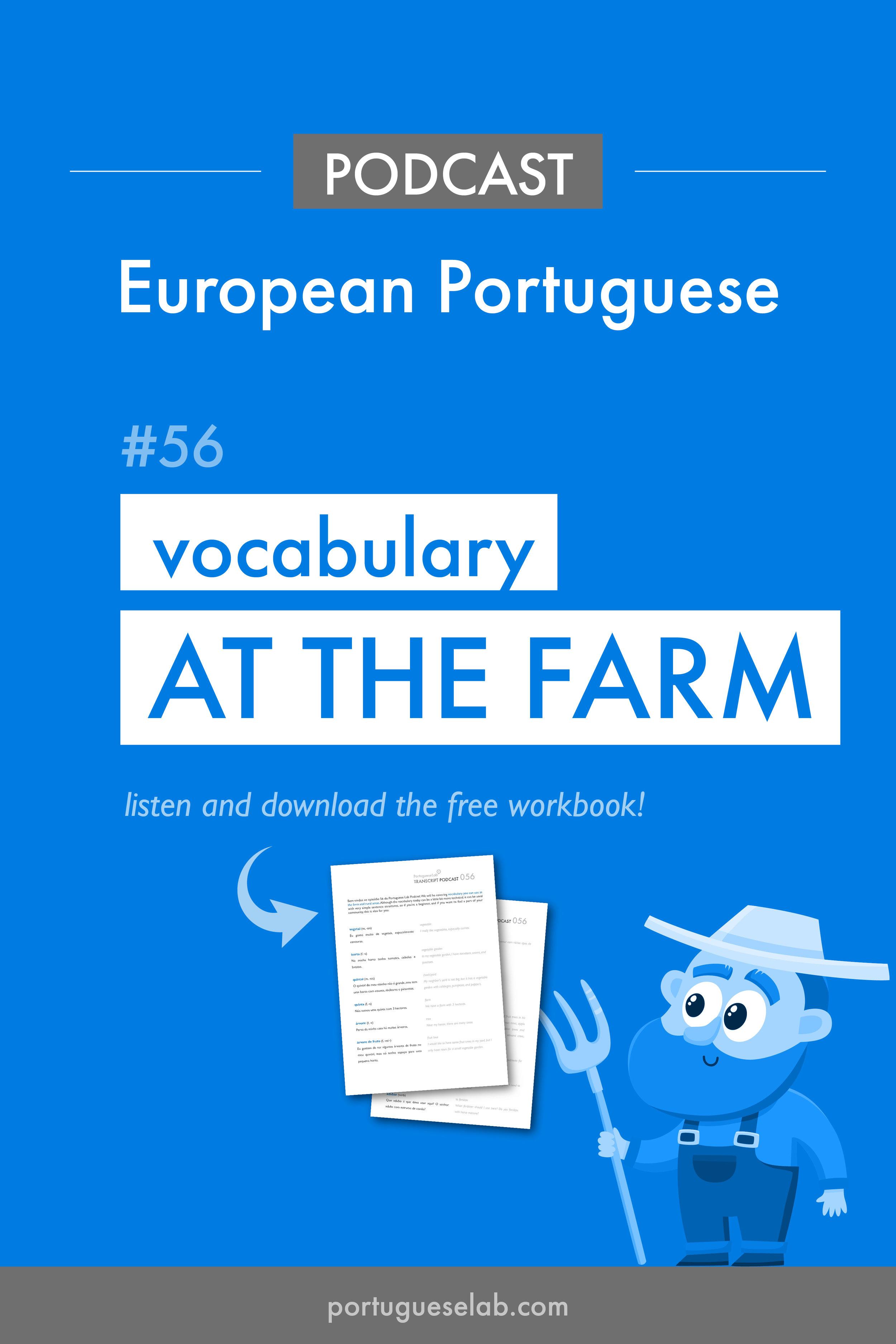 Portuguese Lab Podcast - European Portuguese - 56 - Vocabulary at the farm.jpg