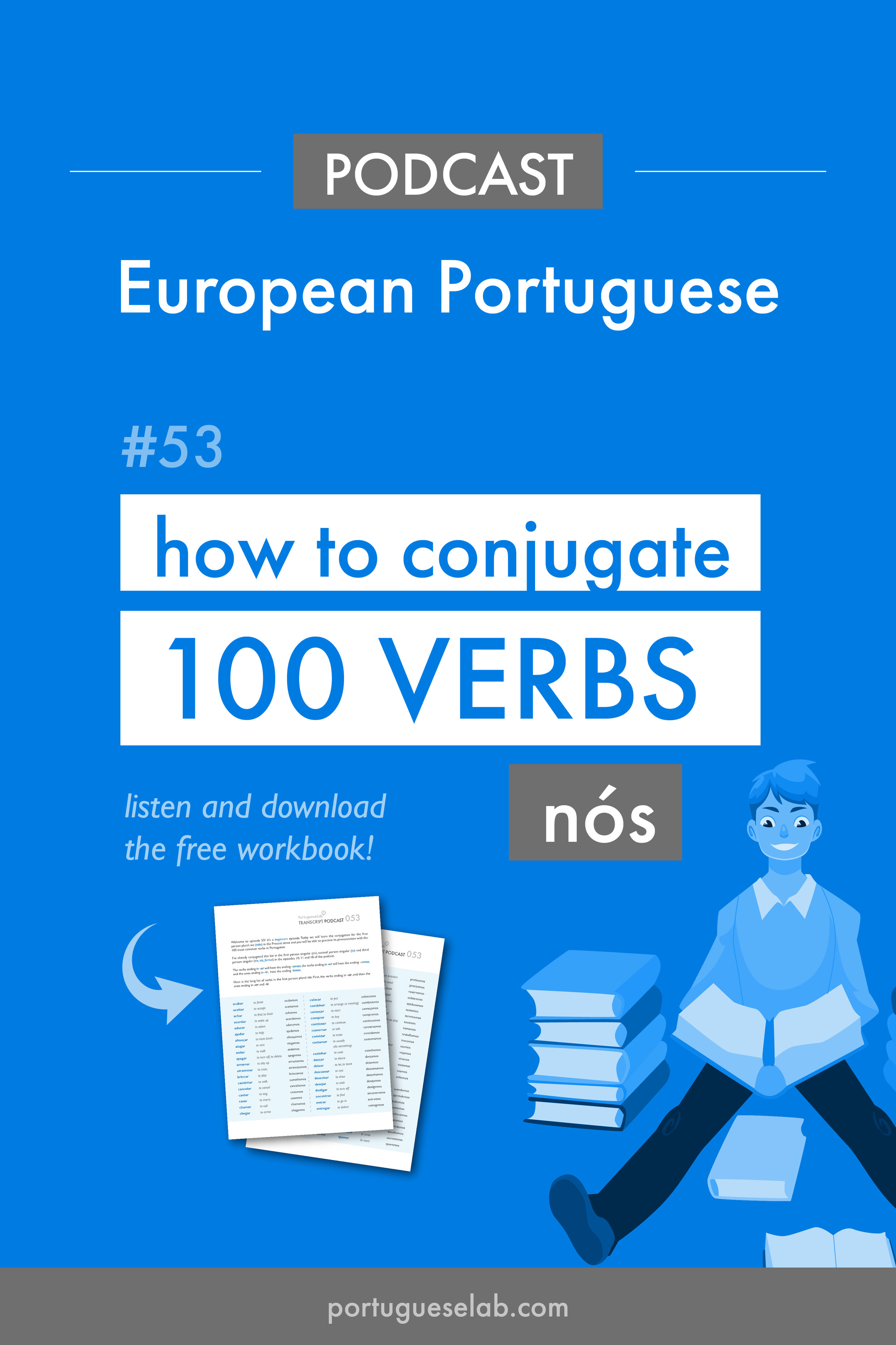 Portuguese Lab Podcast - European Portuguese - 53 - Conjugate 100 verbs - nos.jpg