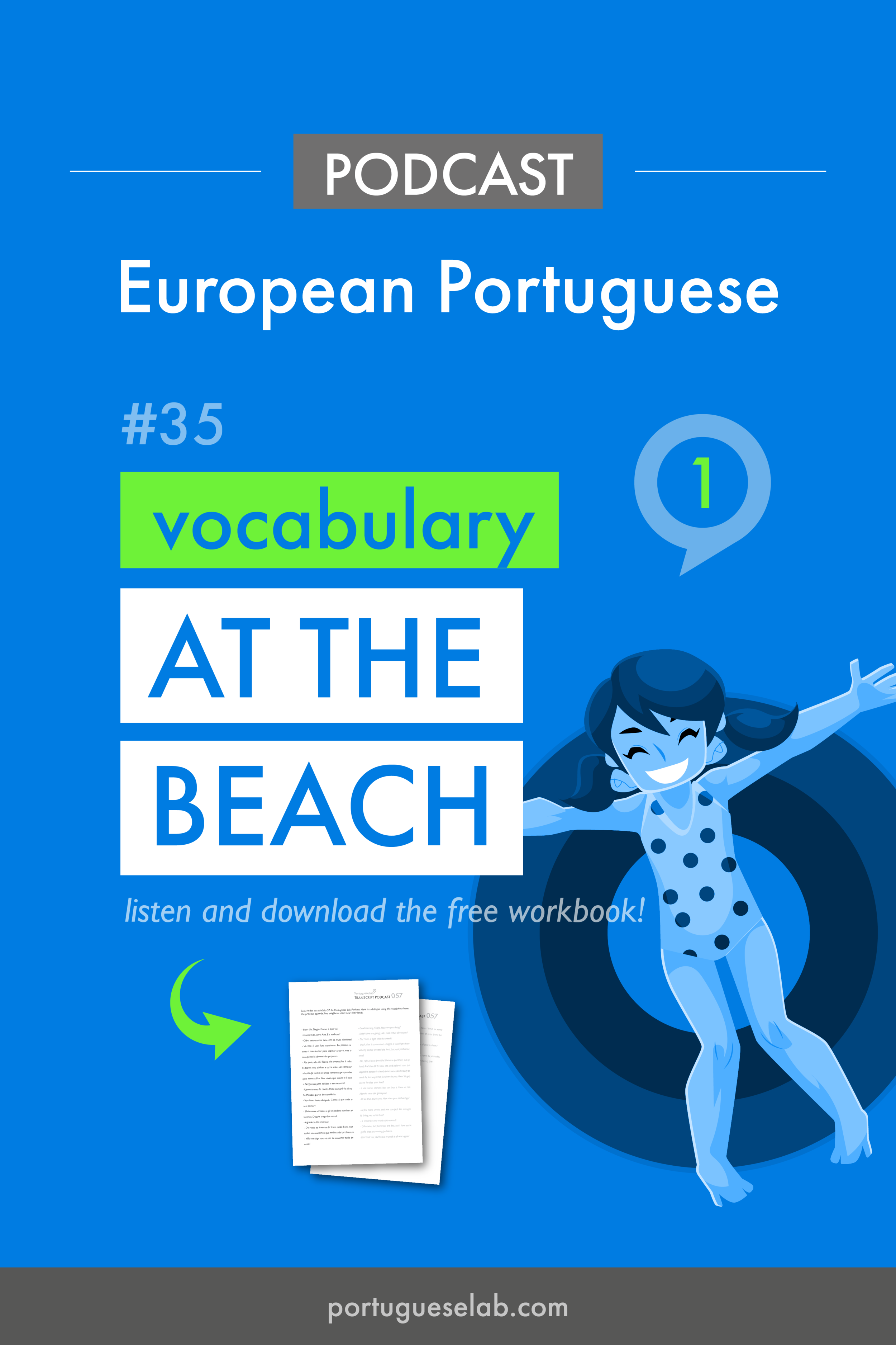 Portuguese Lab Podcast - European Portuguese - 35 - At the beach - dialogue.png
