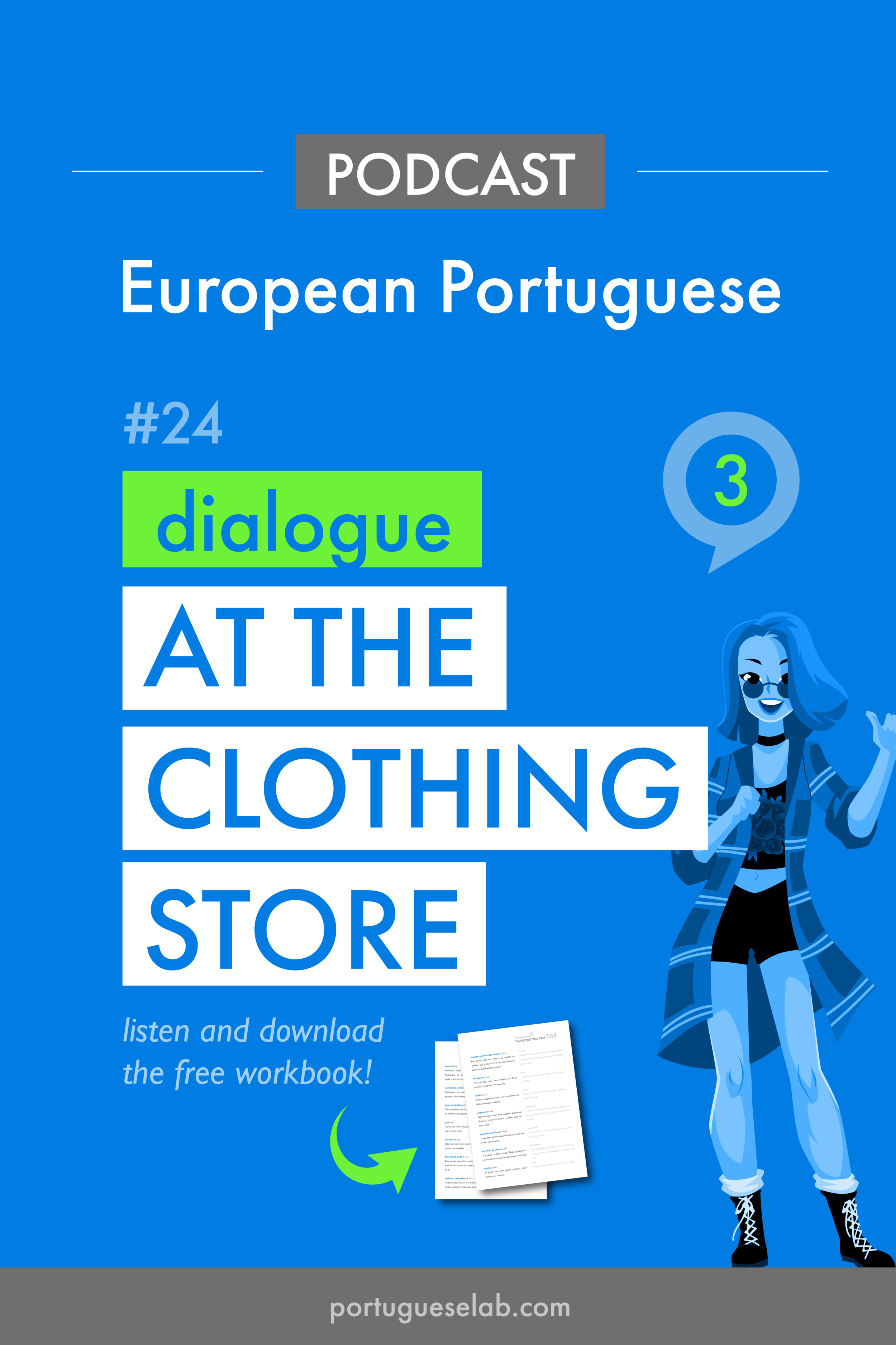 Portuguese Lab Podcast - European Portuguese - 24 - Dialogue at the clothing store.png