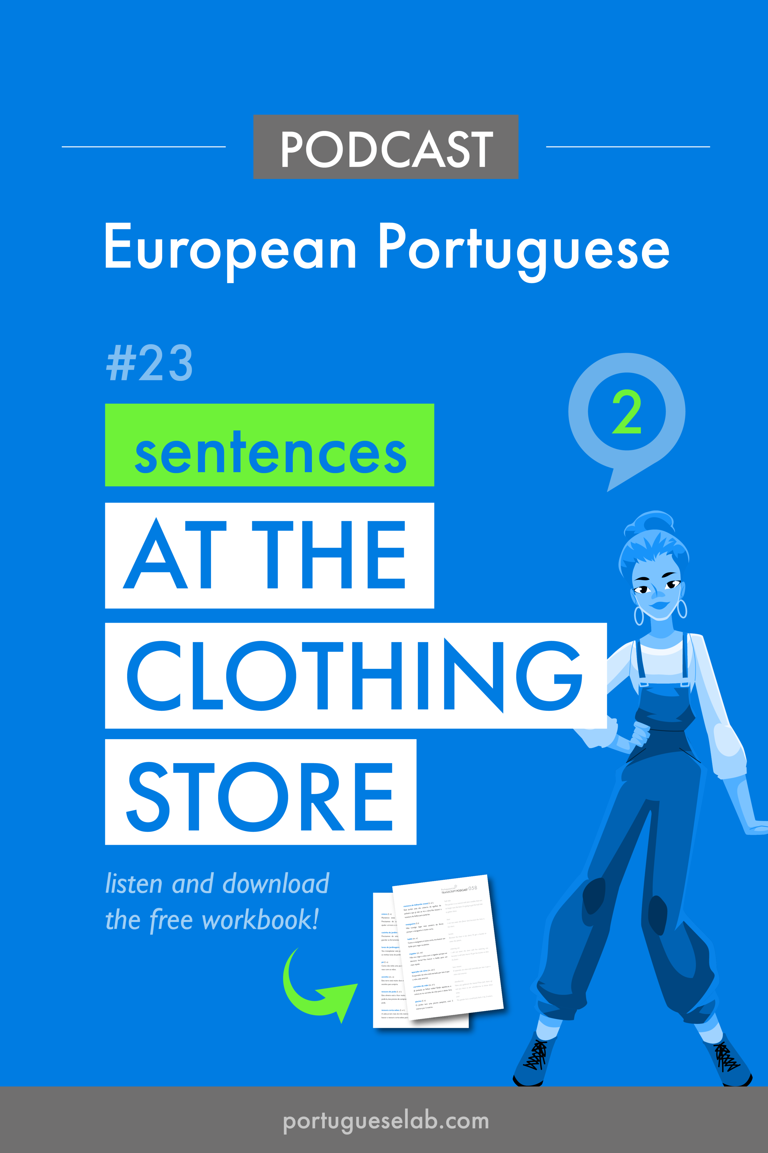 Portuguese Lab Podcast - European Portuguese - 23 - Sentences at the clothing store.png