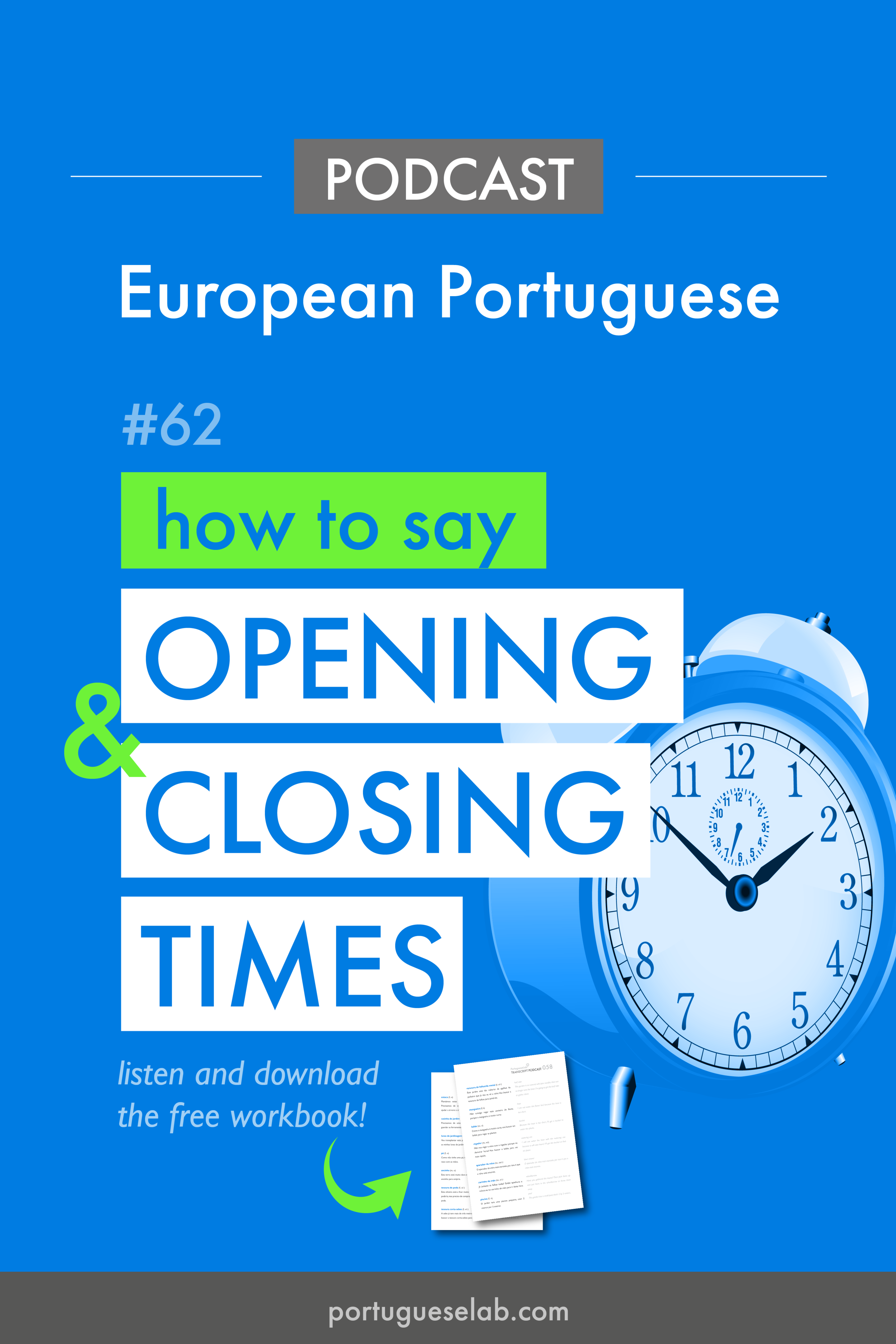 Portuguese Lab Podcast - European Portuguese - 62 - How to say opening closing times.png