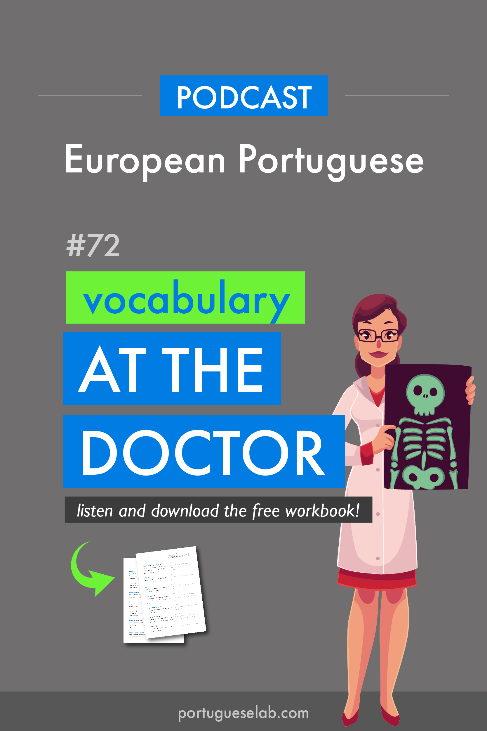 Portuguese Lab Podcast - European Portuguese - 72 - Vocabulary at the doctor.jpg
