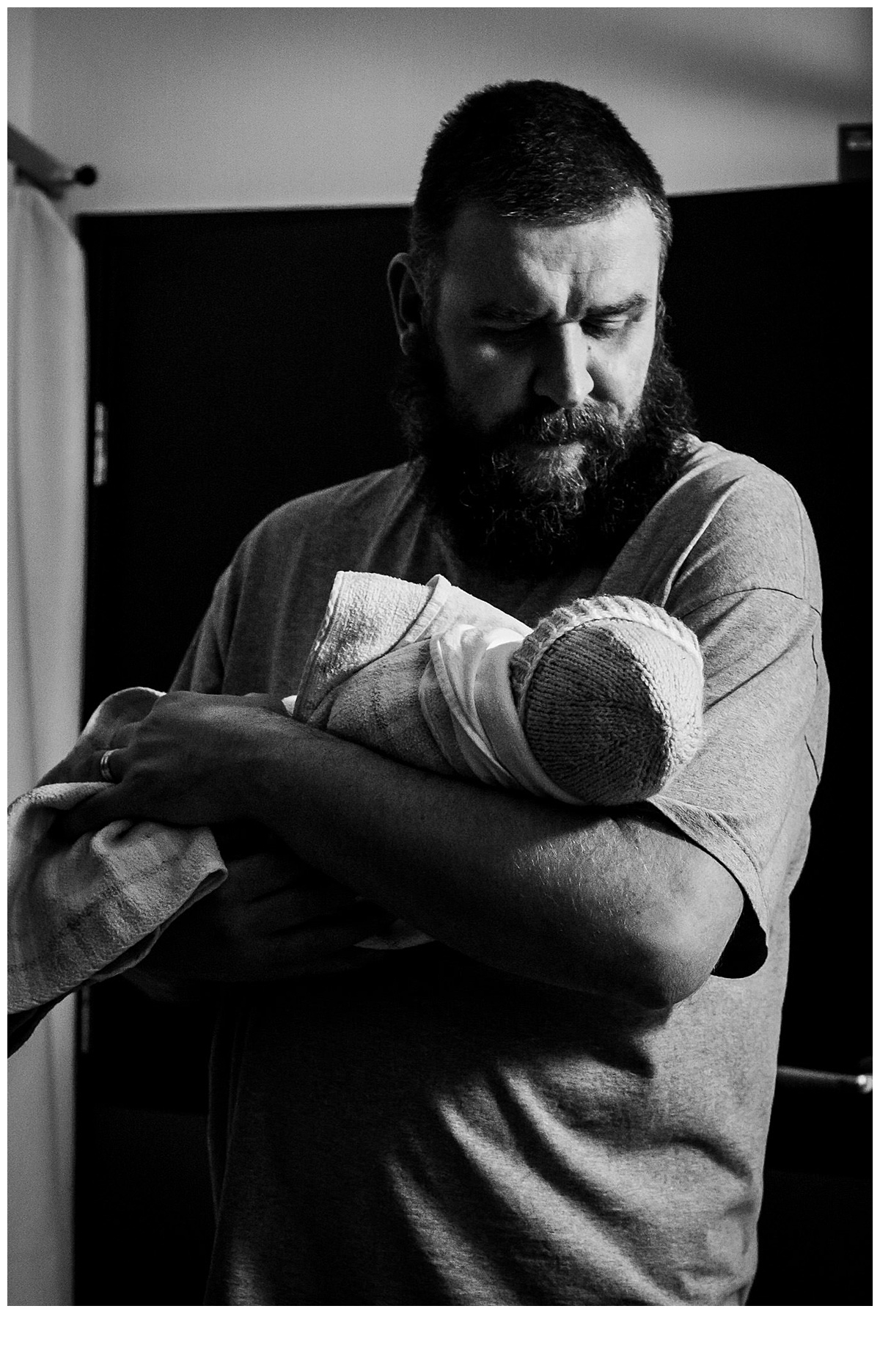 father and son after birth at Melbourne Hospital
