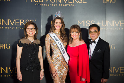 DOT Secretary Wanda Teo; Mittenaere; MUO President Paula Shugart and Chavit Singson during the 65th Miss Universe Pageant in the Philippines