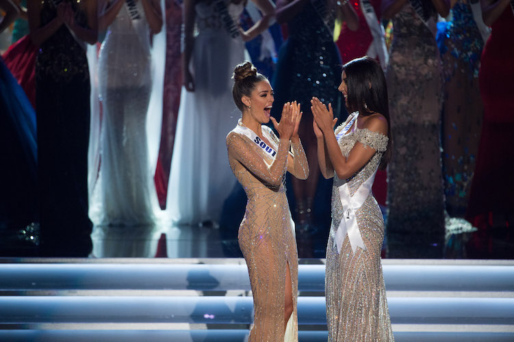 AND THEN THERE WERE TWO: Miss South Africa is announced the winner of Miss Universe 2017 as Miss Colombia looks on