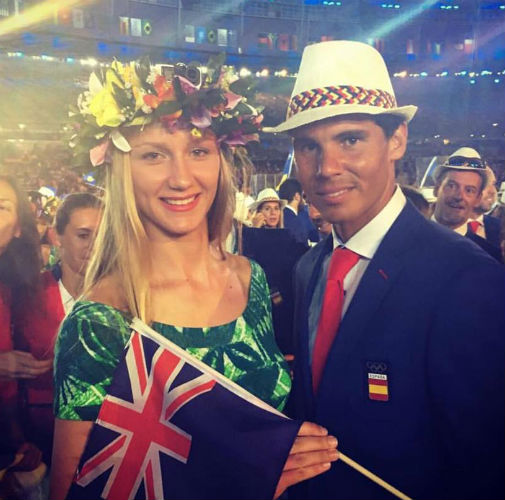 Miss Grand Cook Islands and Spanish tennis star Rafael Nadal during the Opening Ceremony for the 2016 Rio Olympic Games.