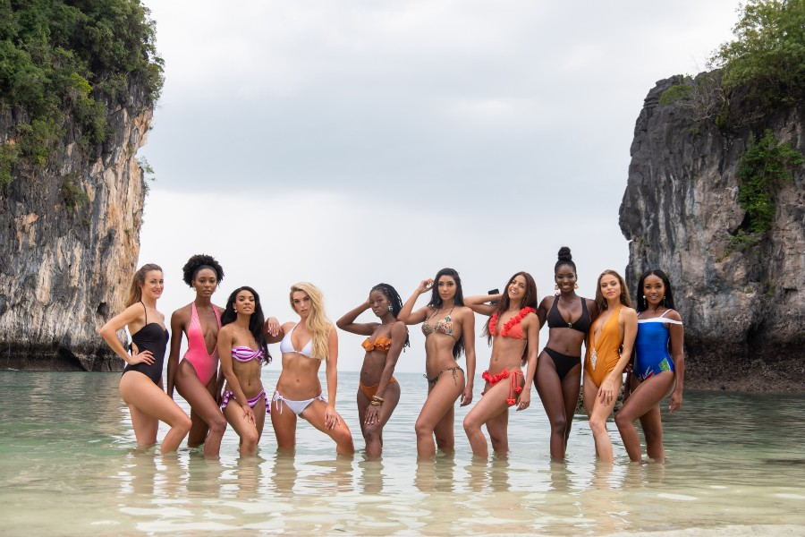Contestants on the beach during their visit to Koh Hong Island off of Krabi Island , during the Miss Universe pageant. Photo: Miss Universe / Max Louis Miller