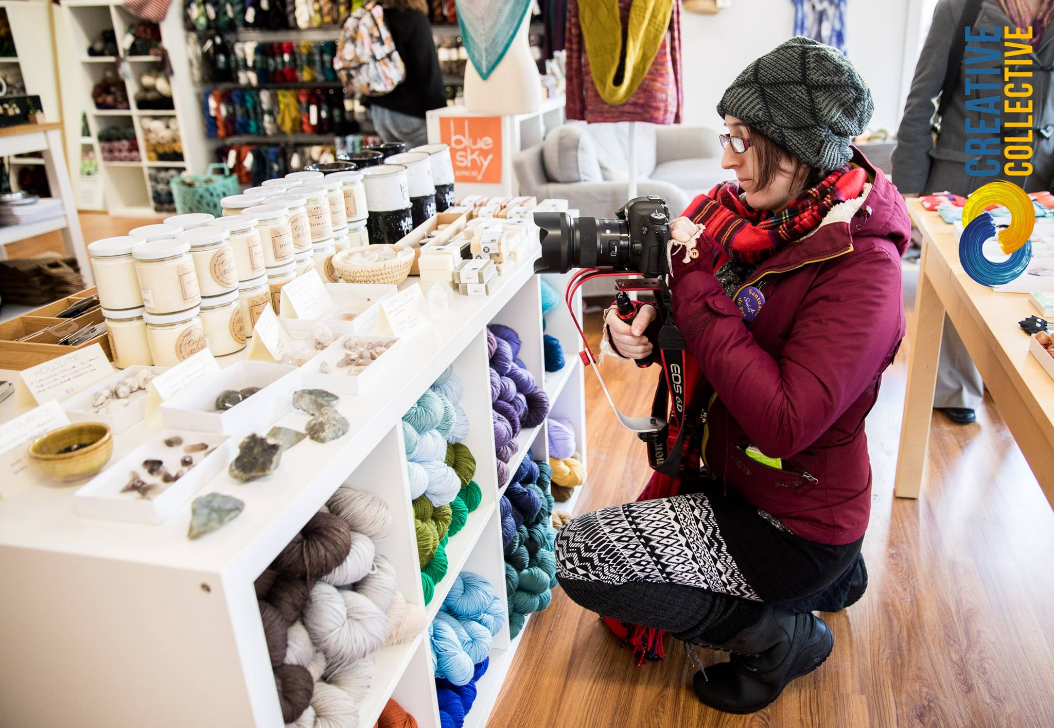 Joey Phoenix films at Circle of Stitches in Salem MA. as part of a series of retail promotions for the city of Salem. By using professional creatives to showcase creative industries there is a certain synergy and creative energy that makes customers want to invest in both the establishment but also the artist responsible for the promotional materials. All of this then supports the local economy and support the cities mission to support it's small businesses.