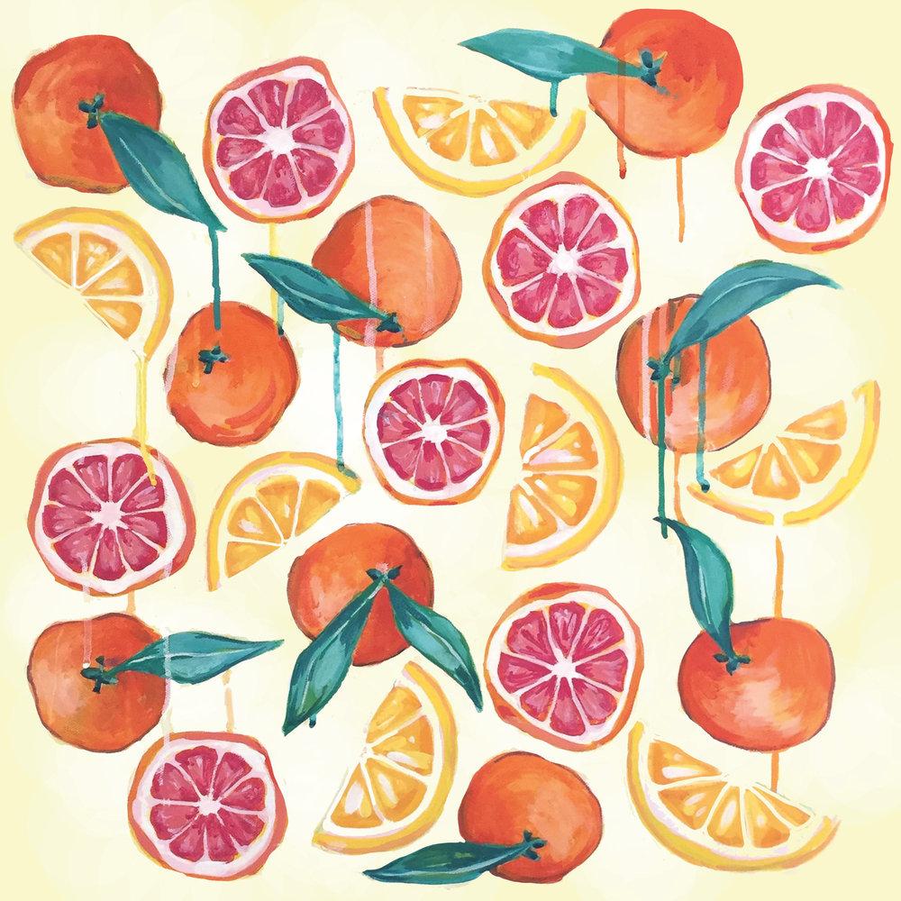 "Grapefruit Sunrise - 22"" x 22""Gouache and acrylic on paper, framedSOLD, archival prints available"