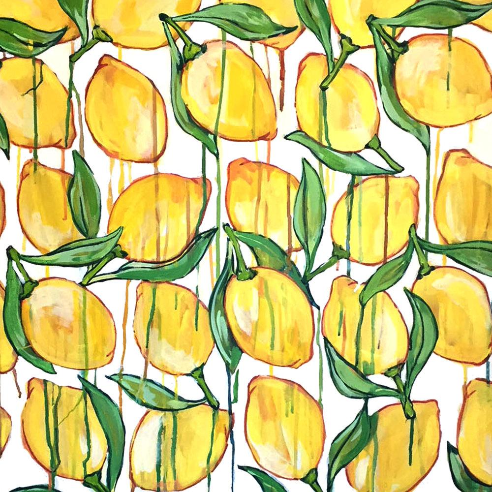"""Lemon Drop - 26"""" x 26""""Acrylic and gouache on canvas, framedSOLD, archival prints available"""
