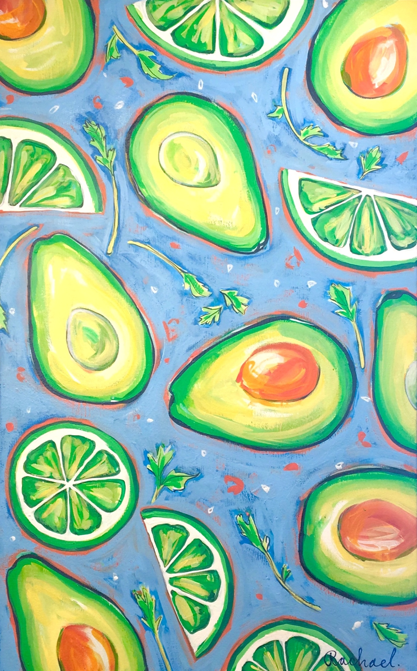 "I Know Guac is Extra - 48"" x 30""Gouache and acrylic on canvas, framedSOLD"