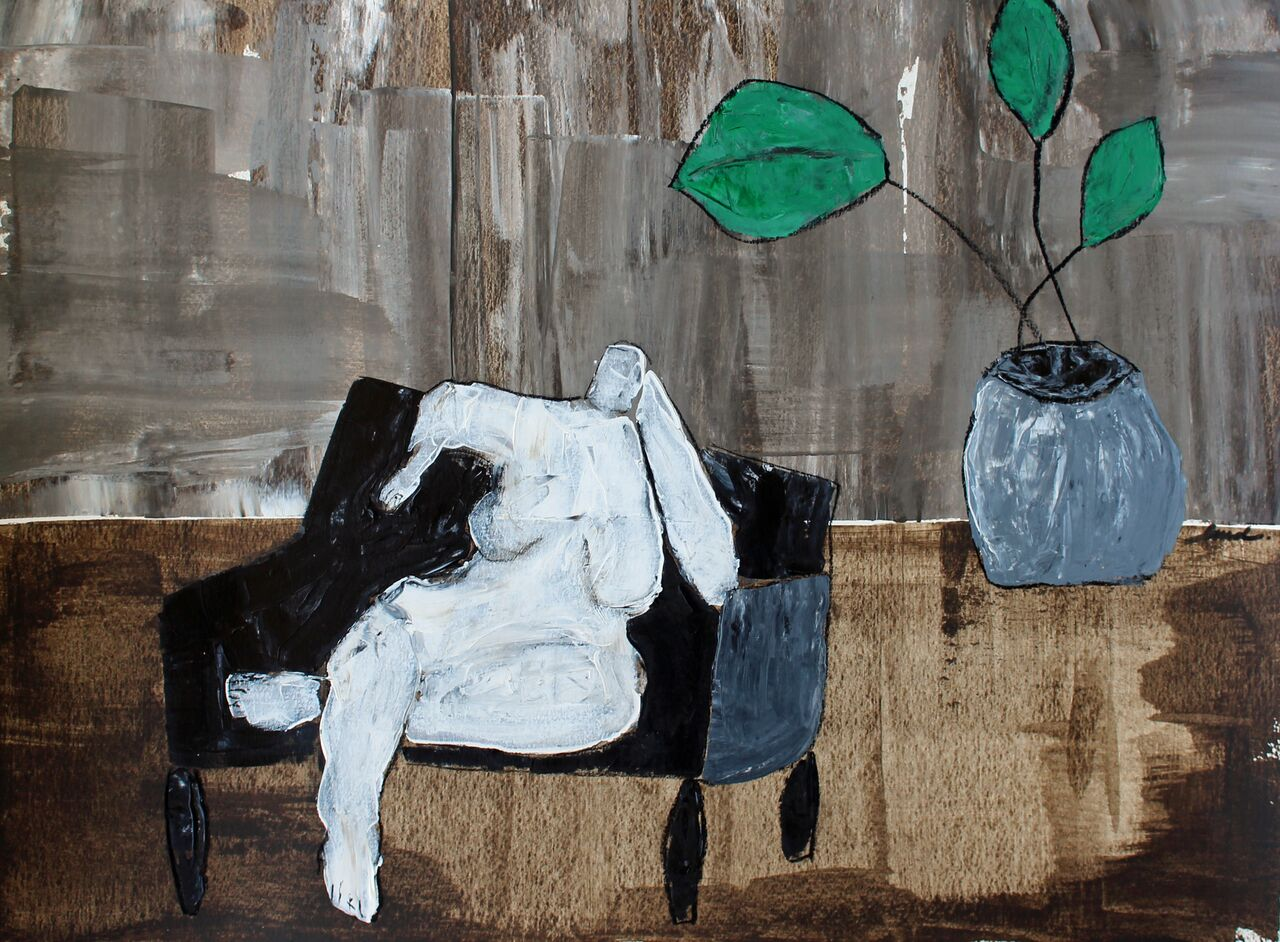 "Lady With Plant  18"" x 24""  Acrylic and charcoal on paper, framed $600"