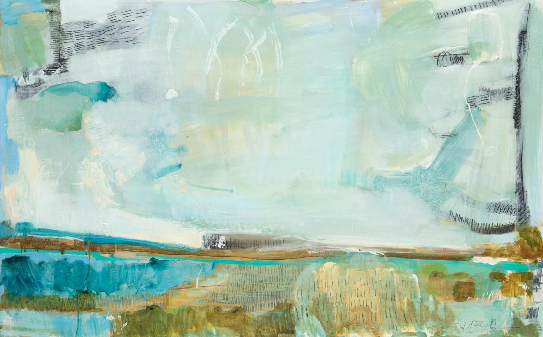 "Color Energy II - Kiah Bellows48"" x 30"" Mixed media on cradled wood canvas$1200"