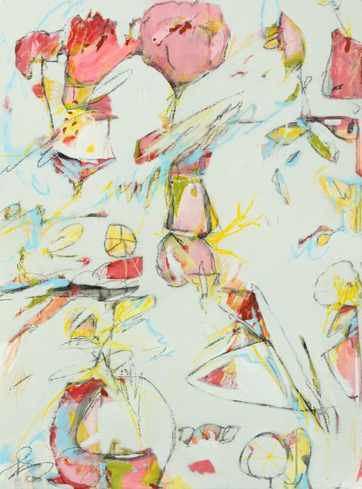 "Hot Tropics & Hobie Cats - Teresa Roche27.5"" x 35.5"" Mixed media on paper, framedSOLD"