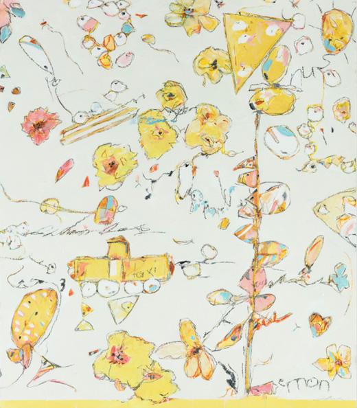 """Popcorn, Taxi Cabs & No. 2 Pencils - Teresa Roche36"""" x 40""""Mixed media on paper, framed$1600"""