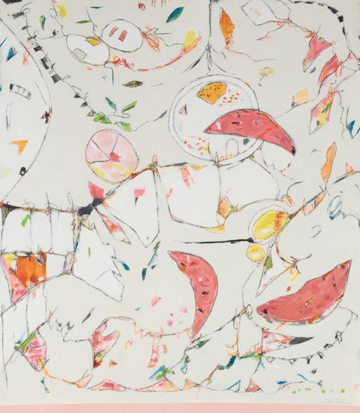 "Watermelon, Grapefruit & Bubble Gum - Teresa Roche36"" x 43"" Mixed media on paper, framedSOLD"
