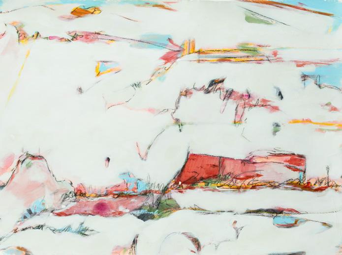"Walk to Fabrica - Teresa Roche27.5"" x 35.5"" Mixed media on paper, framed$1400"