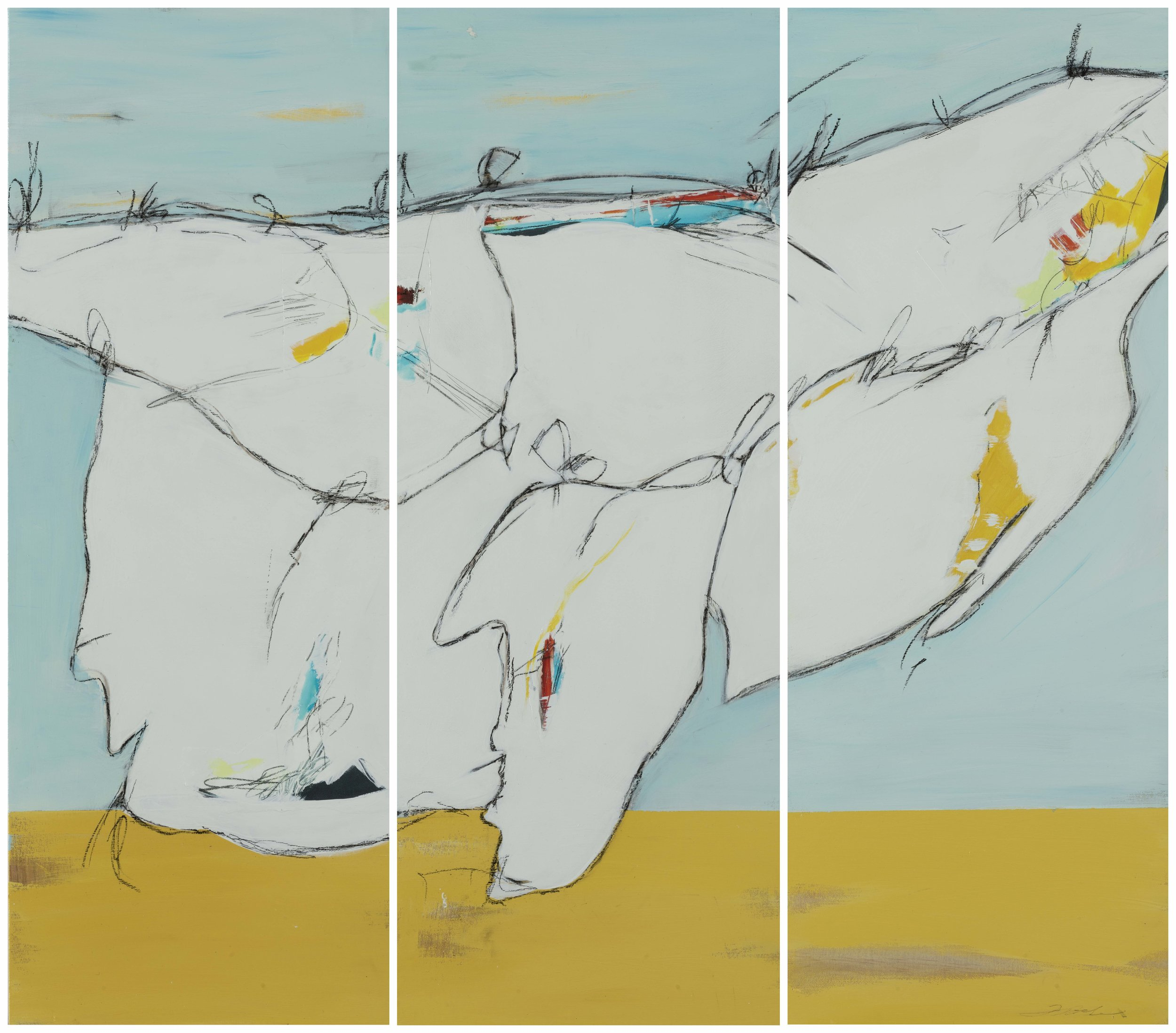 "Wind Drying - Trastevere - Teresa Roche11.5"" x 30"" eachMixed media on three panels$1275"