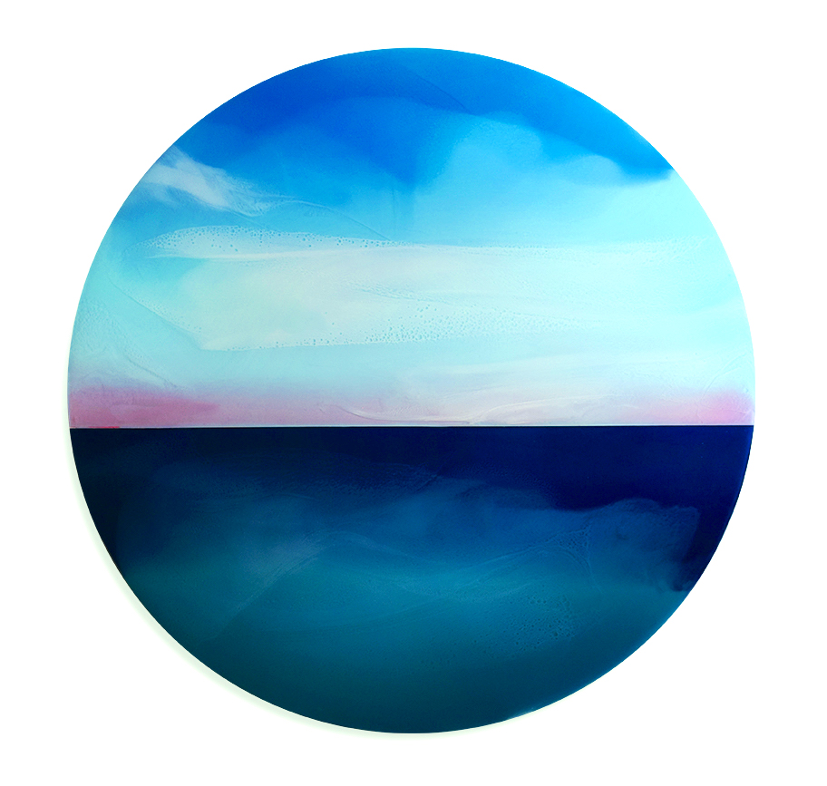 "Valley of Silent Waters - 39"" diameter, tinted resin on panelSOLD"