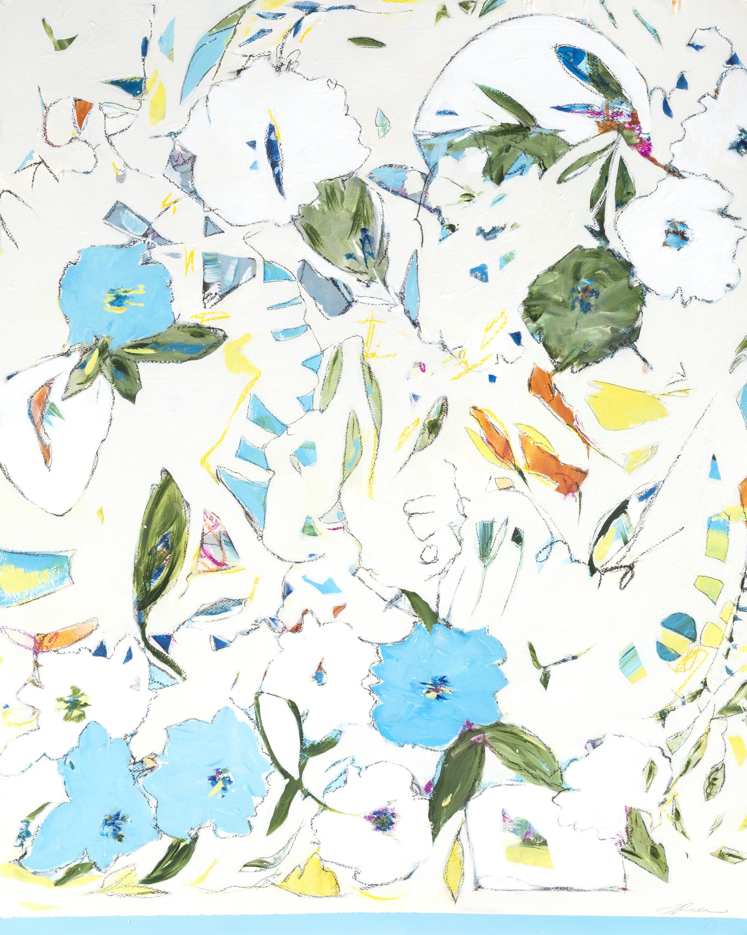 """Hydrangeas, Blueberries, & Sapphires - 36"""" x 43"""" Mixed media on paper, framedSOLD"""