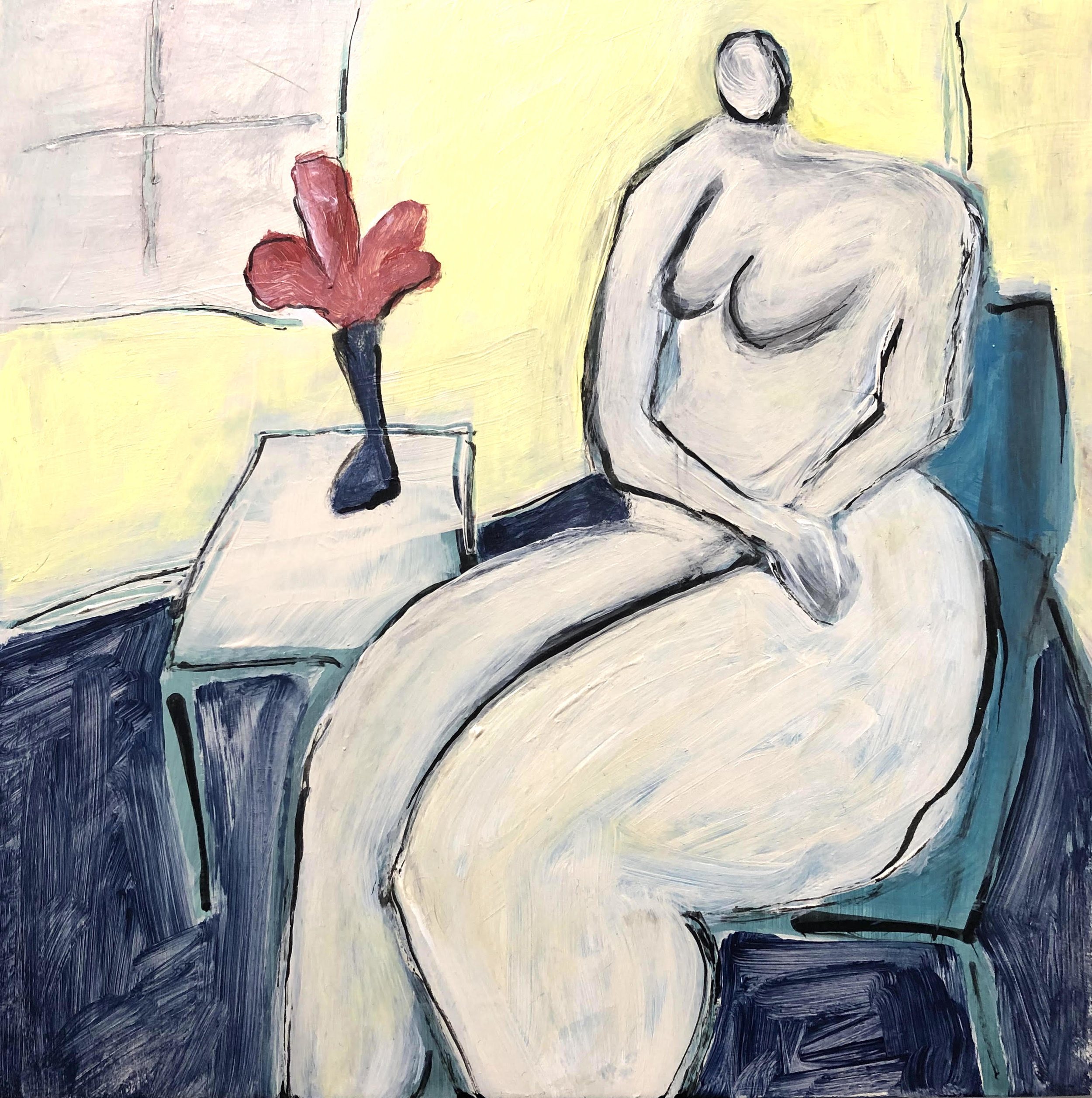 "Lady in Yellow Room - 8"" x 8"" acrylic on panelSOLD"