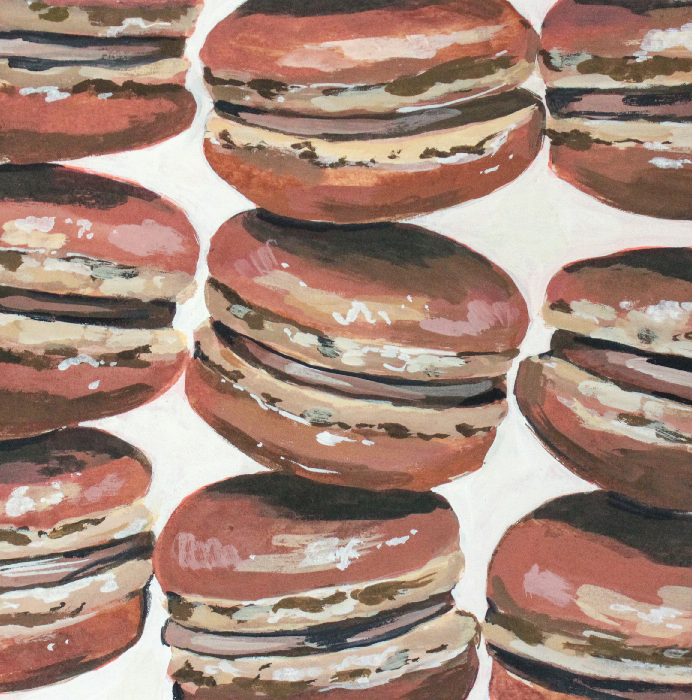 "Chocolat - 10"" x 10"" gouache on panel$225Inspired by the Chocolate Macarons @ F.I.G"