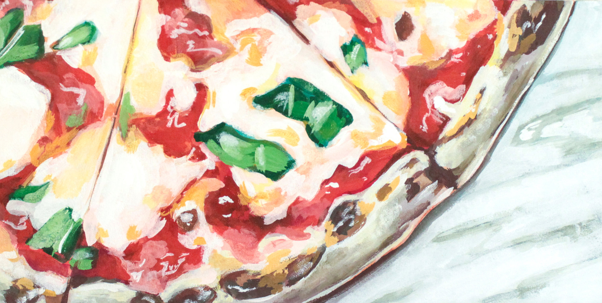 "Juliet - 12"" x 24"" gouache on canvas, framed SOLDInspired by the Margherita Pizza @ Juliet"
