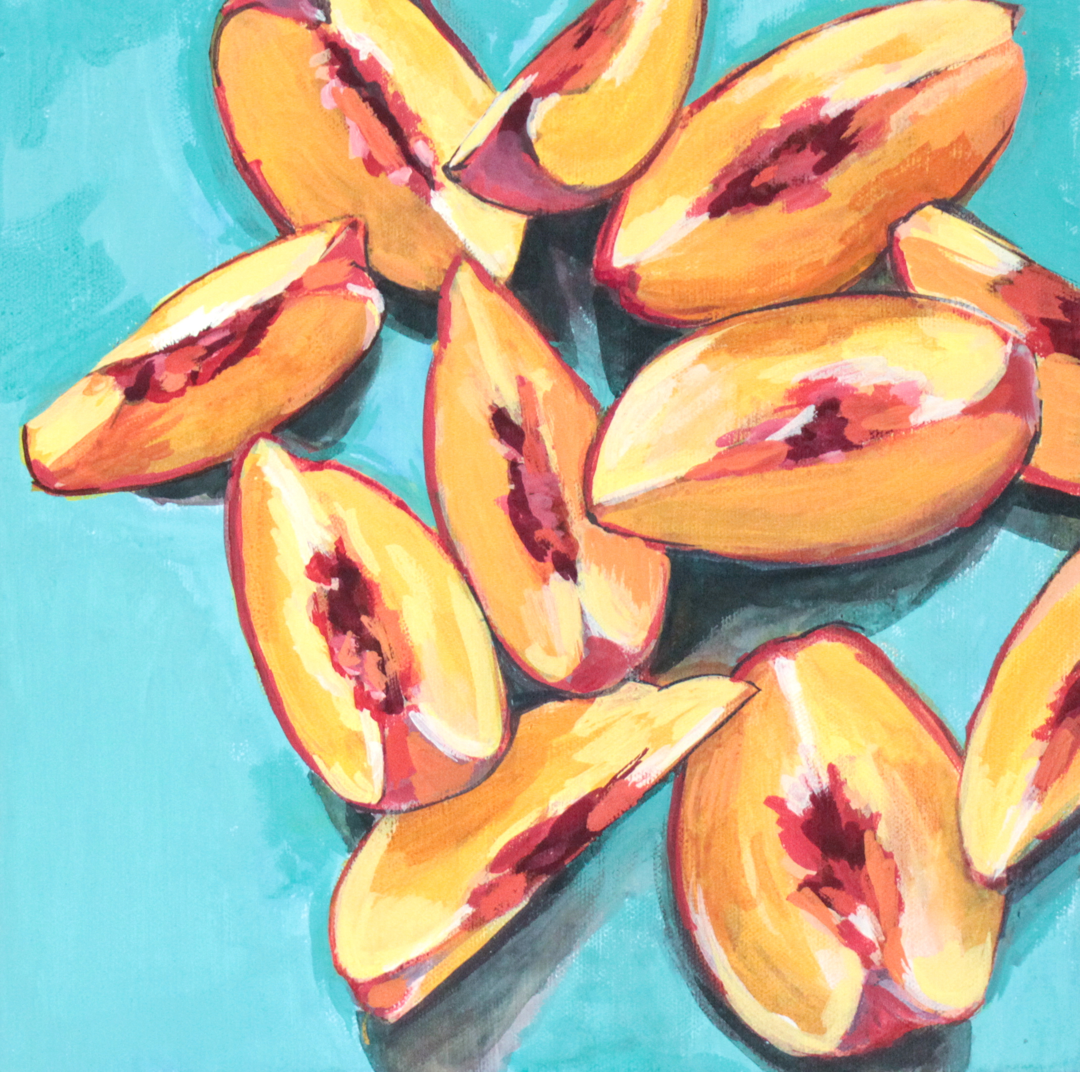 "Last Slices of Summer - 12"" x 12"" gouache on canvas, framedSOLDInspired by the Peach Slices from Seeds of Hope @ the James Island Farmers Market"