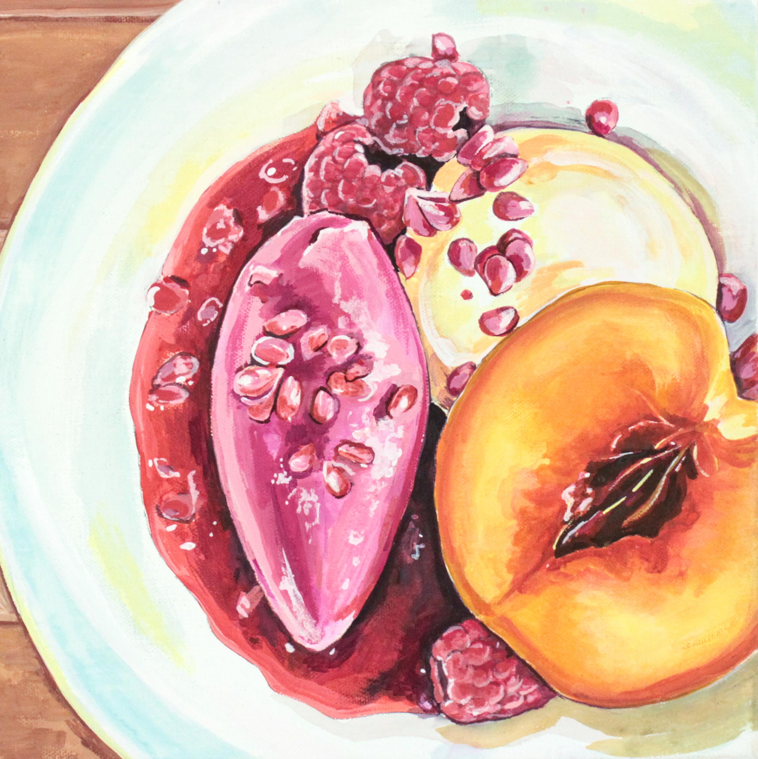 """Peach Melba - 12"""" x 12"""" gouache on canvas, framed SOLD"""