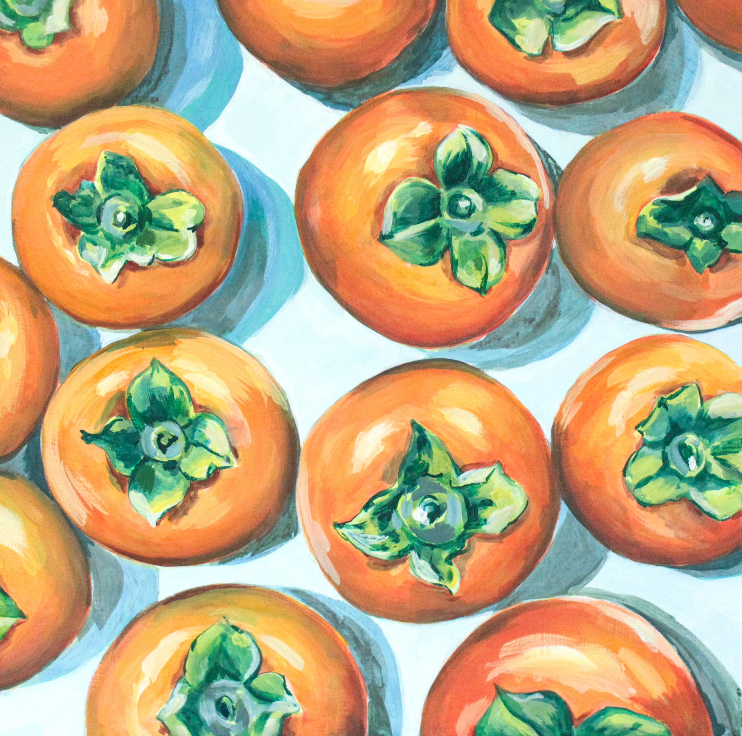 """Persimmons + Coppa - 20"""" x 20"""" gouache on canvas, framed $800 