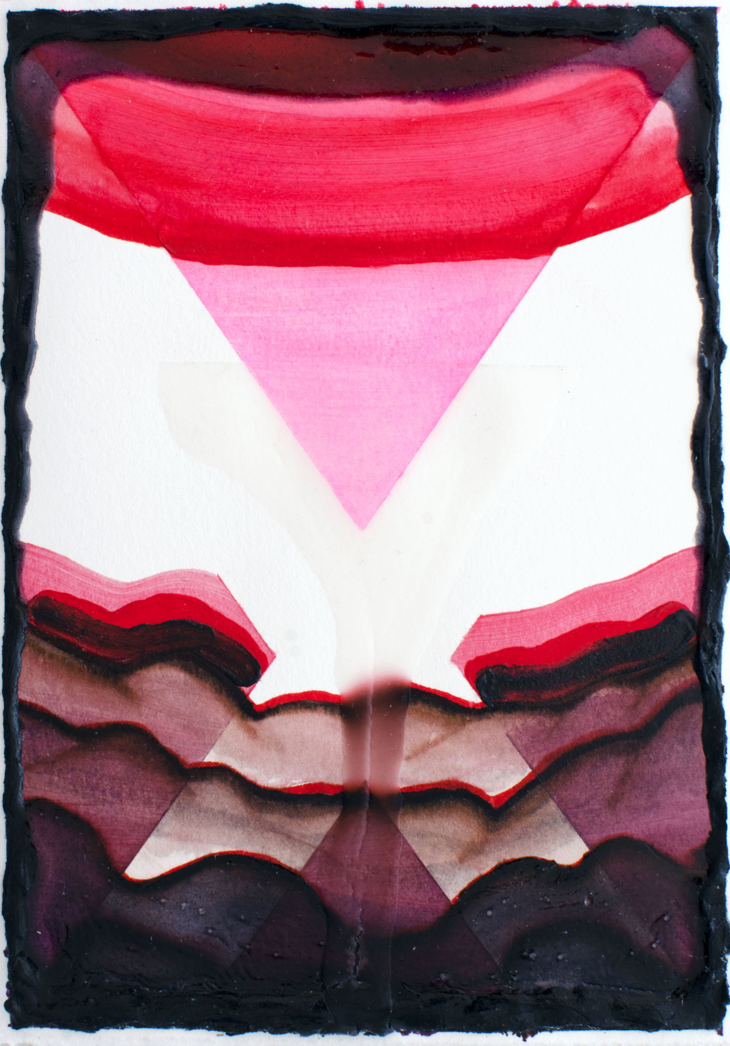 """Down - Elise Thompson7"""" x 5"""" watercolor, acrylic, and glass beads on paper, framed$175"""