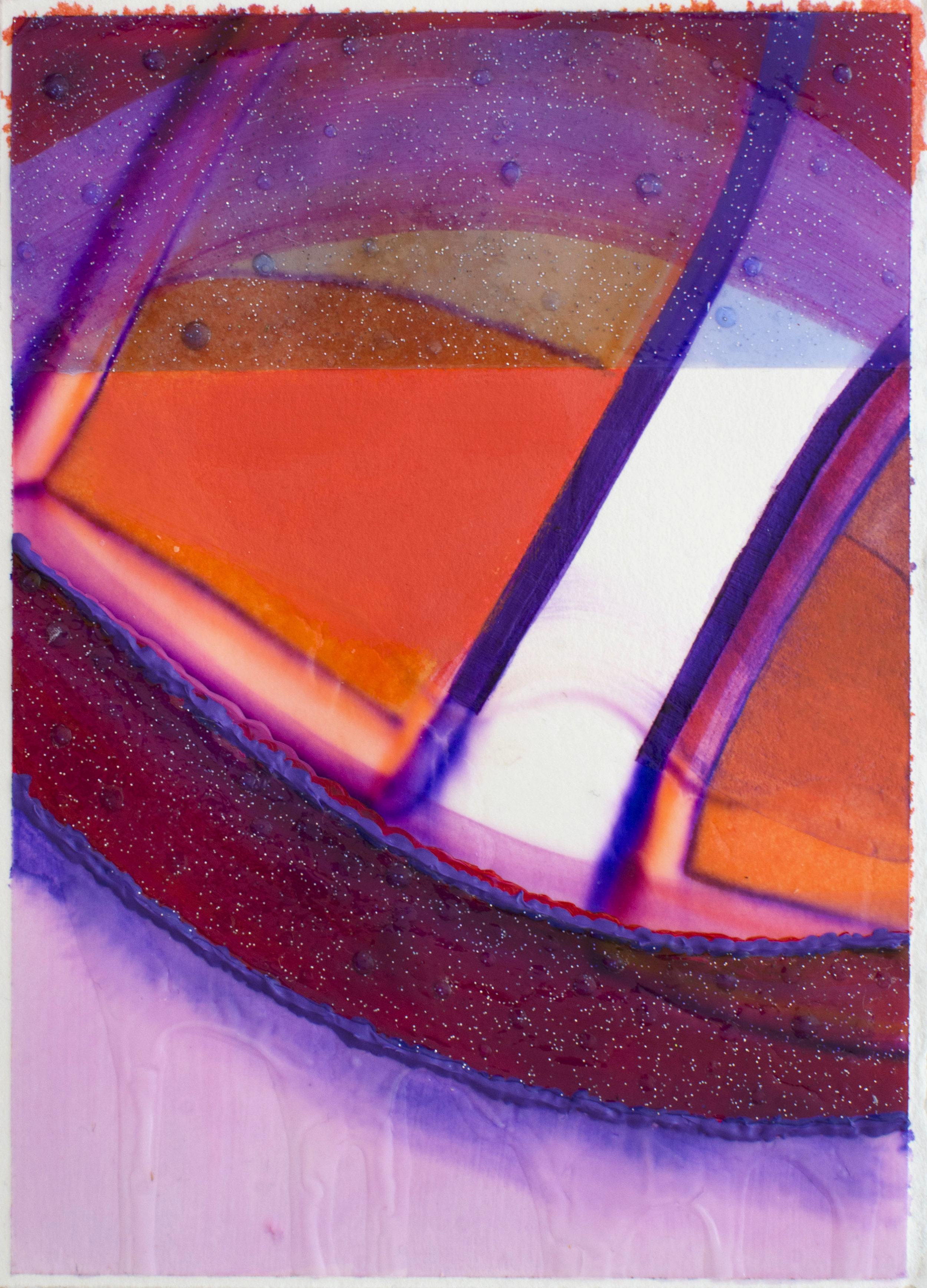 """Through - Elise Thompson7"""" x 5"""" watercolor, acrylic, and glitter on paper, framed$175"""