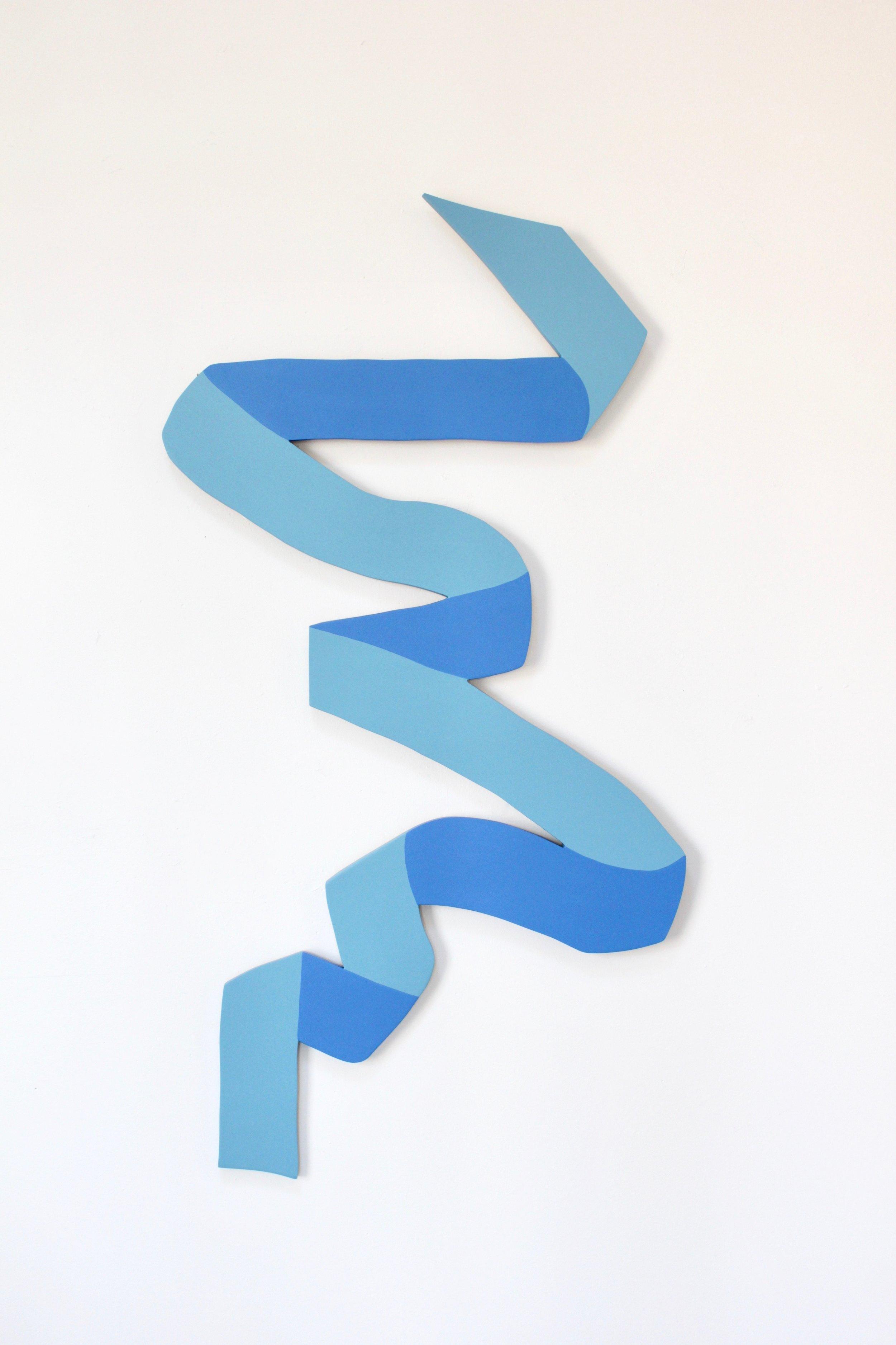 "Blue Ribbon #5 - Angela Chrusciaki Blehm24"" x 48"" latex paint on woodSOLDCommissions Available, $1050"