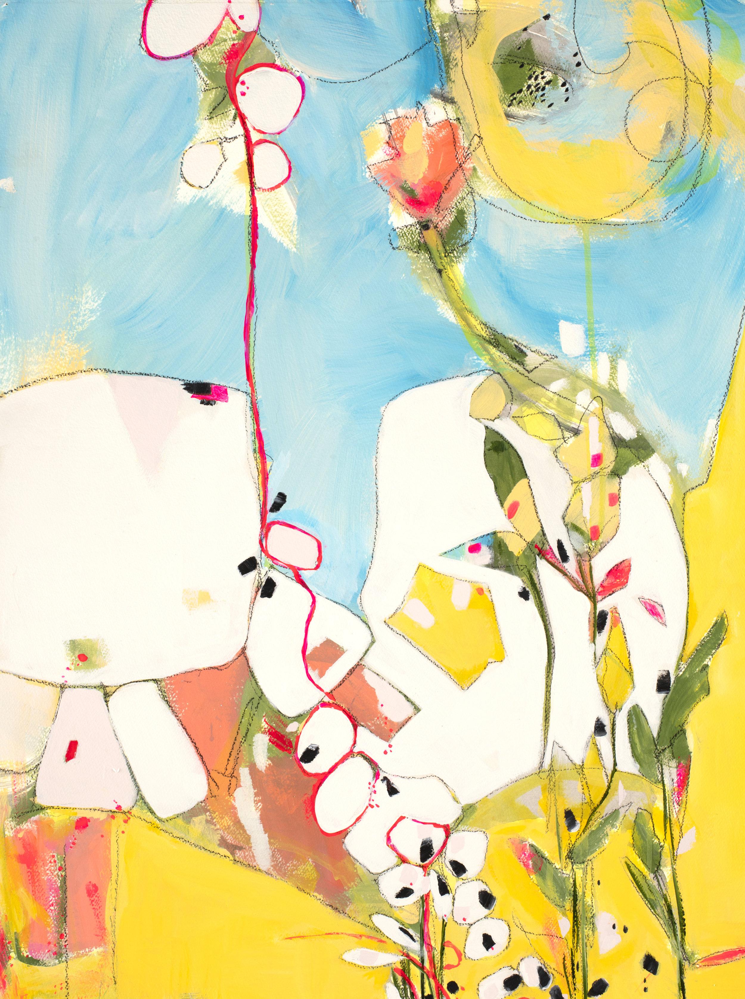 "Bonjour - 26.5"" x 34.75""Mixed media on watercolor paper, framedSOLD"