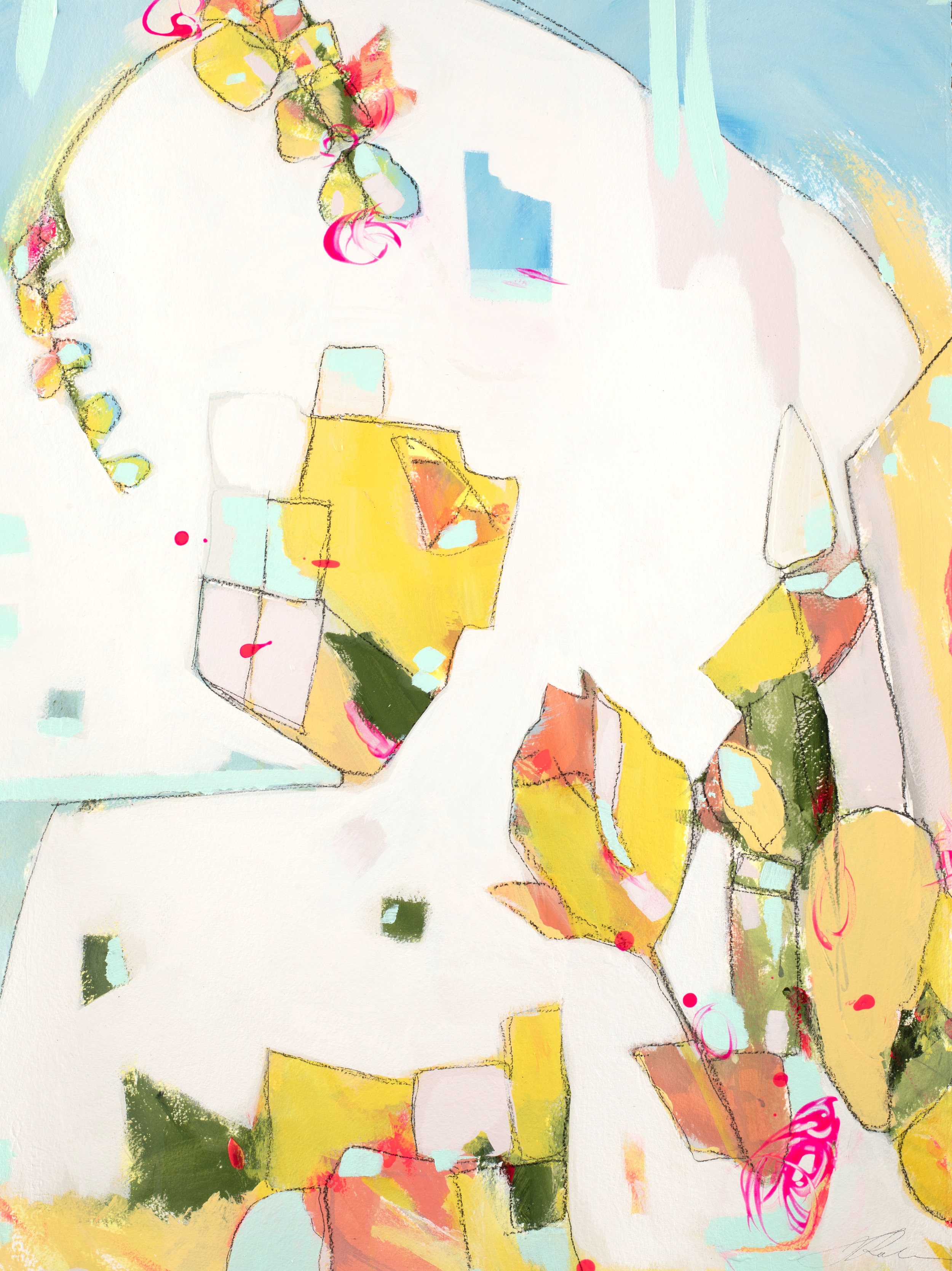 """The Village Where He Lives - 26.5"""" x 34.75""""Mixed media on watercolor paper, framed$1250 