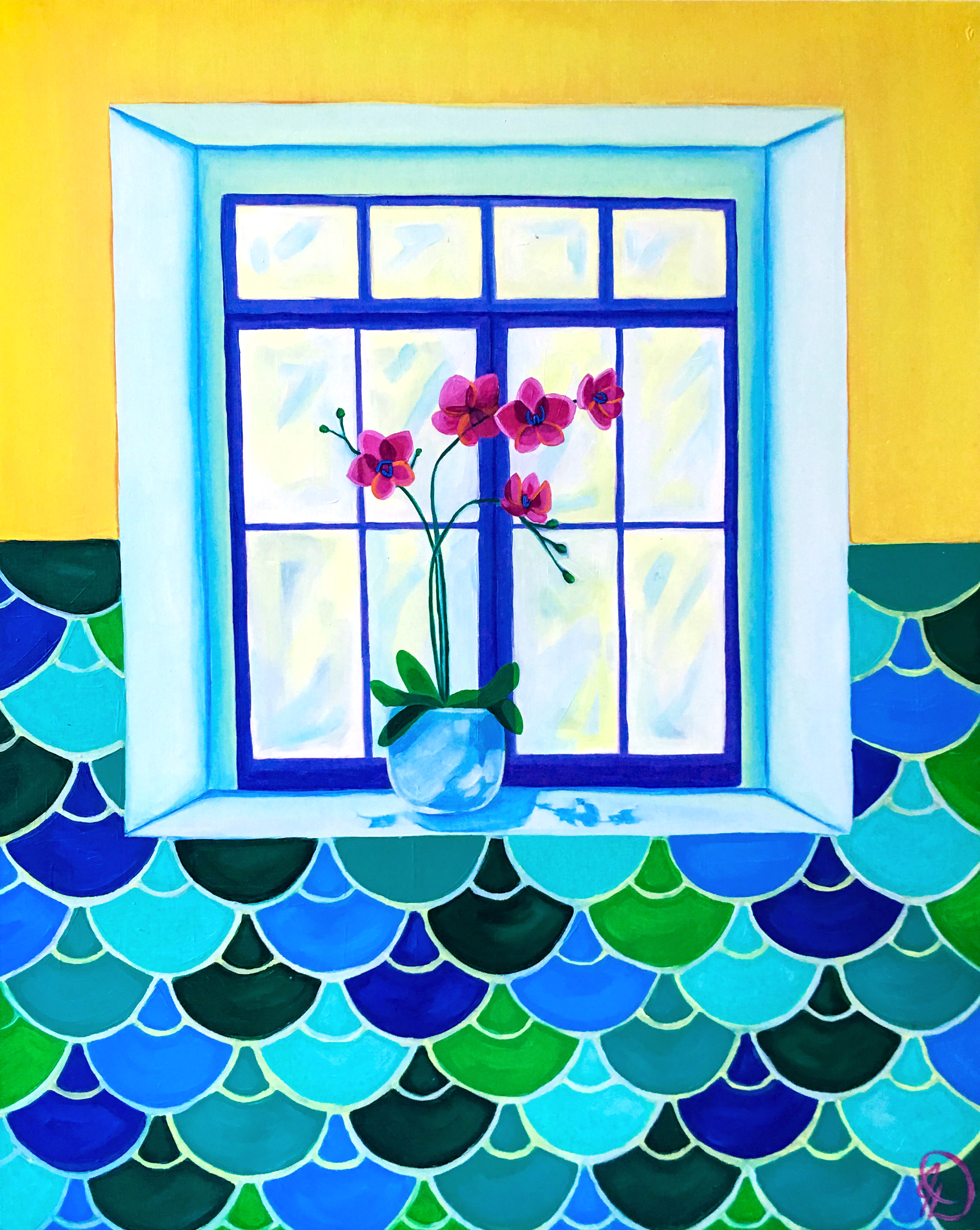 "The Flower Sill - 30"" x 24"" oil on wood panel SOLD"